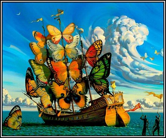 SCHMETTERLINGS-SCHIFF: Weinlese-surrealer abstrakter Fantasie-Druck von posterbobs