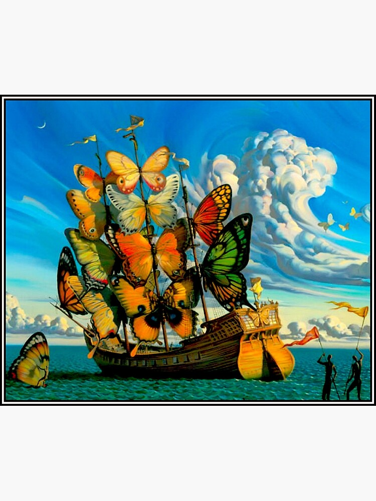 BUTTERFLY SHIP : Vintage Surreal Abstract Fantasy Print  by posterbobs