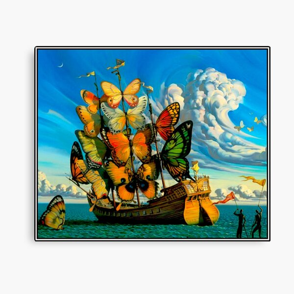 BUTTERFLY SHIP : Vintage Surreal Abstract Fantasy Print  Canvas Print