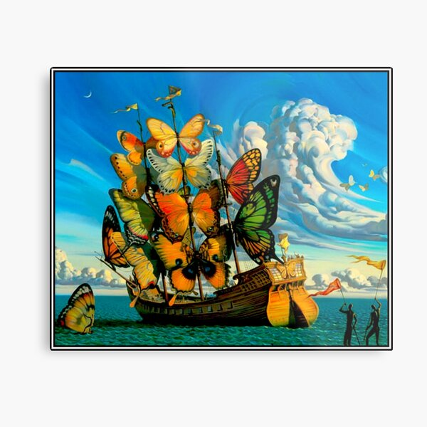BUTTERFLY SHIP : Vintage Surreal Abstract Fantasy Print  Metal Print