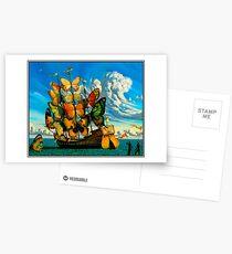 SCHMETTERLINGS-SCHIFF: Weinlese-surrealer abstrakter Fantasie-Druck Postkarten
