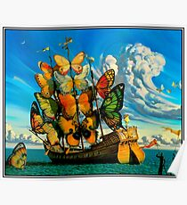 BUTTERFLY SHIP : Vintage Surreal Abstract Fantasy Print  Poster