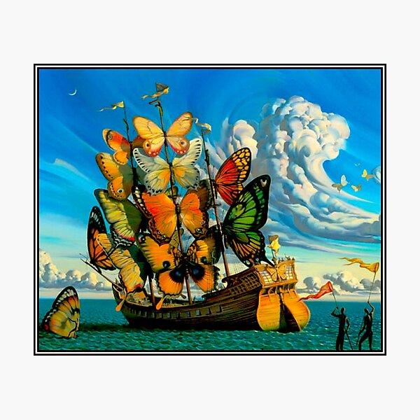BUTTERFLY SHIP : Vintage Surreal Abstract Fantasy Print  Photographic Print