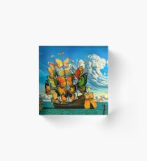 BUTTERFLY SHIP : Vintage Surreal Abstract Fantasy Print  Acrylic Block