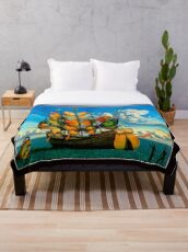 BUTTERFLY SHIP : Vintage Surreal Abstract Fantasy Print  Throw Blanket