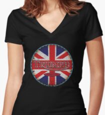Vintage british motorcycle Women's Fitted V-Neck T-Shirt