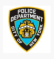 New York Police Department - Cool NYPD Clock Sticker T-Shirt Photographic Print