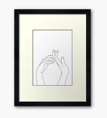 Woman's hands line drawing - Abi Framed Print