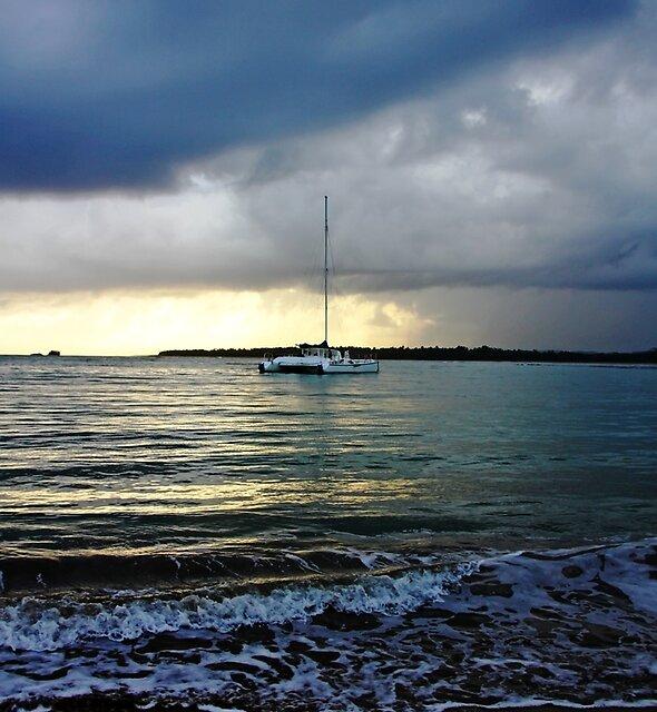Catamaran At Sunrise by Debbie Oppermann