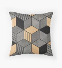 Concrete and Wood Cubes 2 Throw Pillow