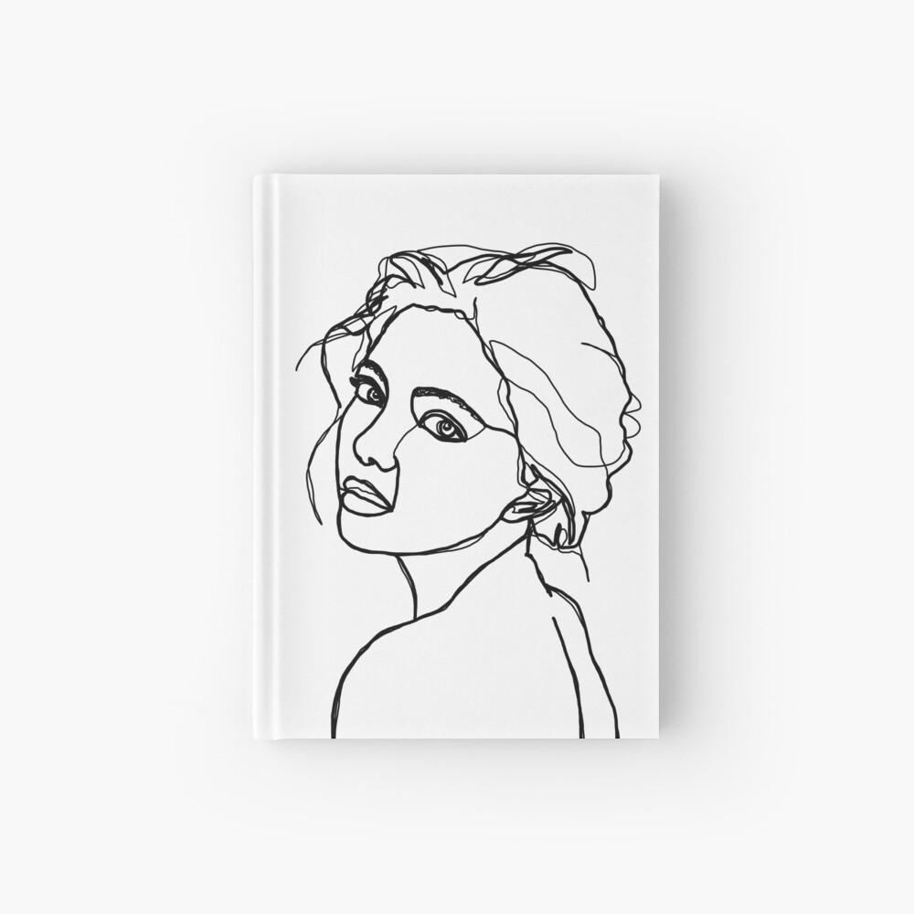Woman's face line drawing - Adena Hardcover Journal