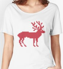 Merry Christmas red cross-stitch deer isolated Women's Relaxed Fit T-Shirt