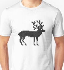 Merry Christmas black cross-stitch deer isolated T-Shirt