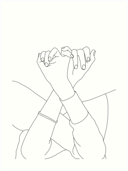 Linked fingers line drawing illustration - Aisha by TheColourStudy