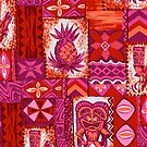 Pomaika'i Tiki Hawaiian Vintage Tapa - Fuchsia and Red by DriveIndustries