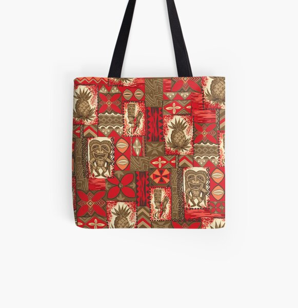Pomaika'i Tiki Hawaiian Vintage Tapa - Red & Brown All Over Print Tote Bag