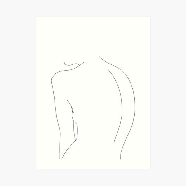 Nude back line drawing illustration - Alex Art Print