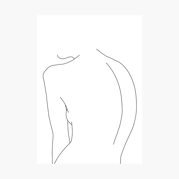 Nude back line drawing illustration - Alex Photographic Print