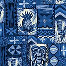 Pomaika'i Tiki Hawaiian Vintage Tapa - Indigo Blue by DriveIndustries