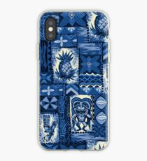 Vinilo o funda para iPhone Pomaika'i Tiki hawaiana Vintage Tapa - azul índigo