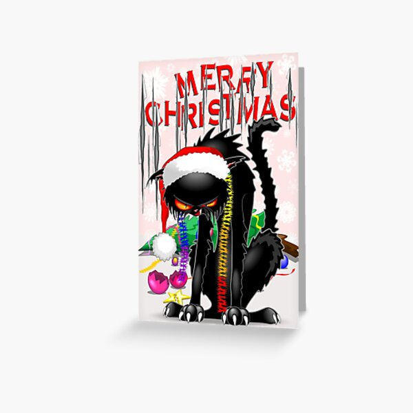 Evil Black Cat VS Christmas Tree  Greeting Card