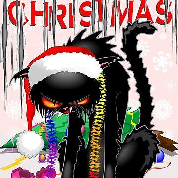 Evil Black Cat VS Christmas Tree  by BluedarkArt