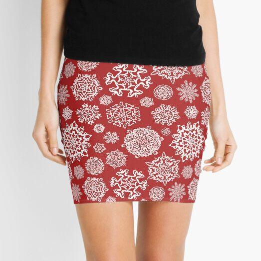 Seasonal Christmas red with snowflakes Mini Skirt