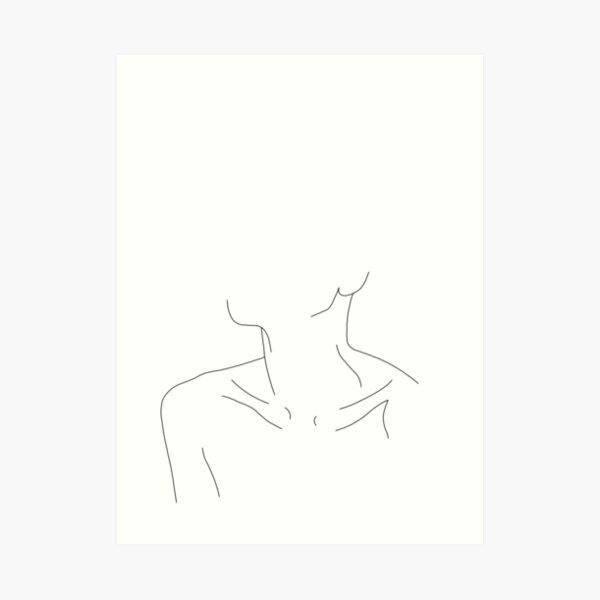 Collar bones line drawing illustration - Ali Art Print