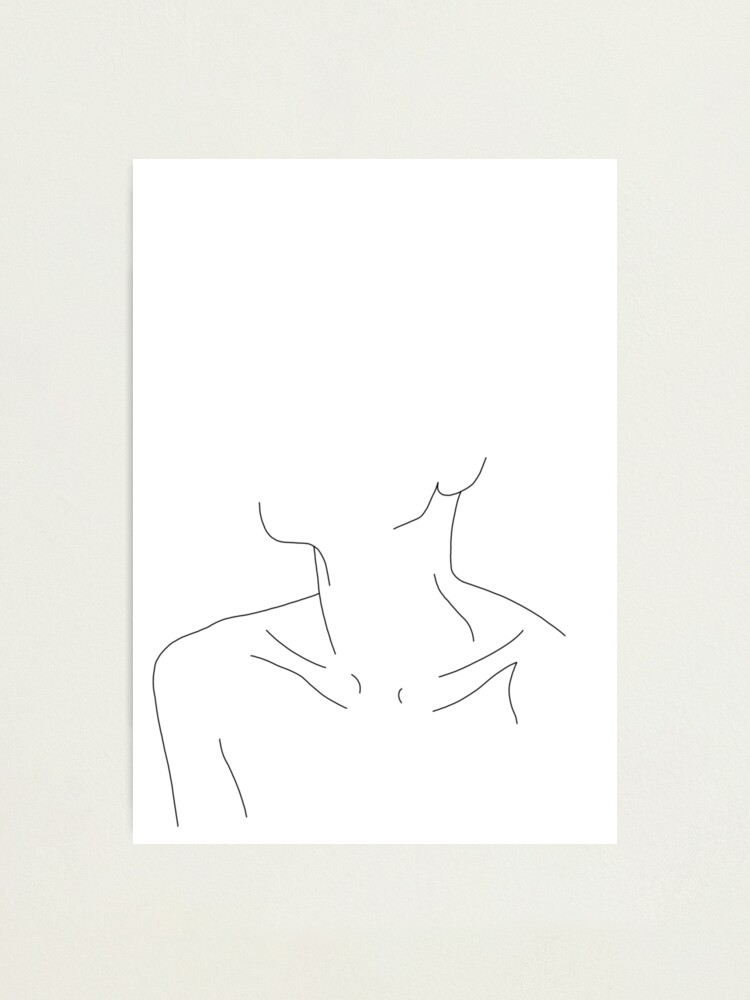 Alternate view of Collar bones line drawing illustration - Ali Photographic Print