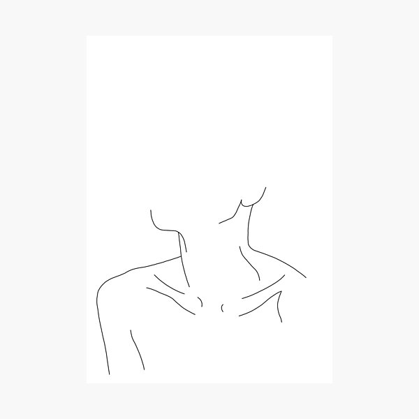 Collar bones line drawing illustration - Ali Photographic Print