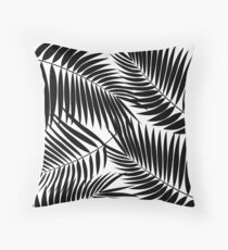 Kona Palms Hawaiian Leaf - White & Black Throw Pillow