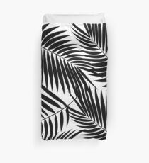 Kona Palms Hawaiian Leaf - White & Black Duvet Cover
