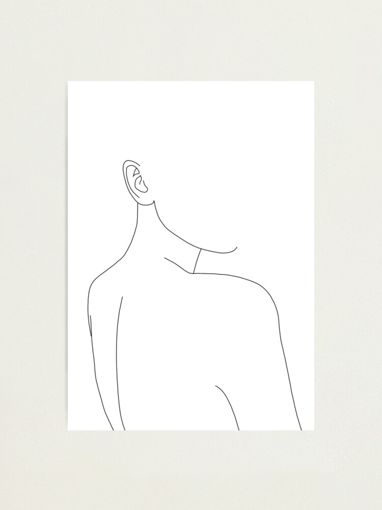 Alternate view of Woman's back line drawing illustration - Alina Photographic Print