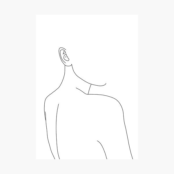 Woman's back line drawing illustration - Alina Photographic Print