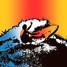 Groovy Hawaiian Surfer 1960s Retro Graphic - Navy & Red by DriveIndustries