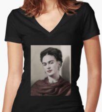 Frida Kahlo -Oil Women's Fitted V-Neck T-Shirt