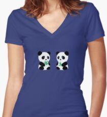 Two Pandas Women's Fitted V-Neck T-Shirt