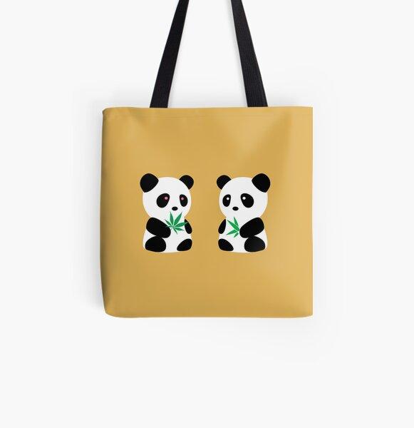 Two Pandas All Over Print Tote Bag