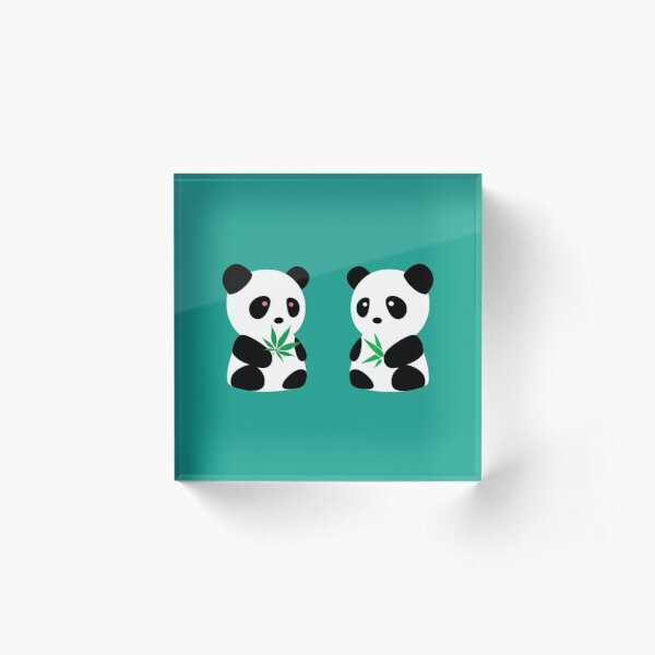 Two Pandas Acrylic Block