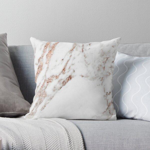 Rose gold vein marble Throw Pillow