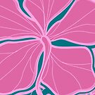 Kailua Hibiscus Hawaiian Engineered Floral - Pink- Teal by DriveIndustries