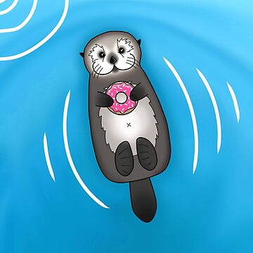 Sea Otter with Donut - Cute Otter Holding Doughnut with Little Paws by prettyinink