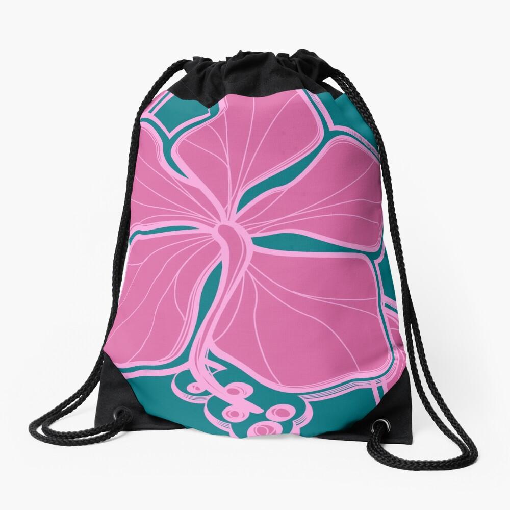 Kailua Hibiscus Hawaiian Engineered Floral - Pink- Teal Drawstring Bag