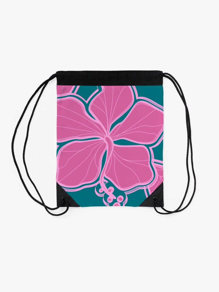 Alternate view of Kailua Hibiscus Hawaiian Engineered Floral - Pink- Teal Drawstring Bag