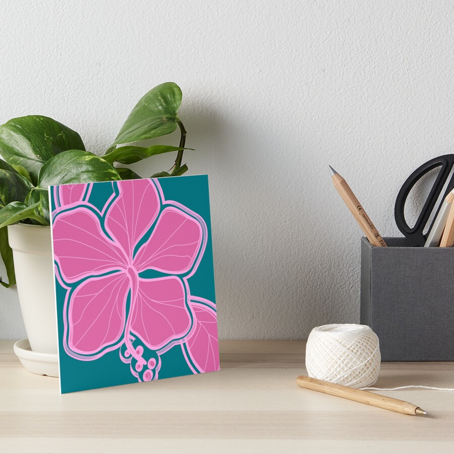 Kailua Hibiscus Hawaiian Engineered Floral - Pink- Teal Art Board Print
