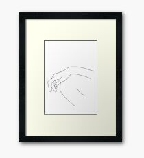 Hand on knee line drawing - Ana Framed Print