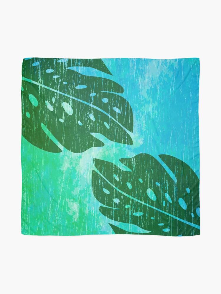 Alternate view of Maikai Hawaiian Monstera Leaf Tie-Dye Blend - Green & Turq Scarf