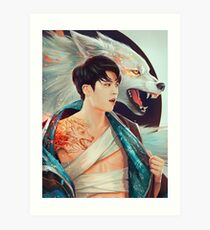 Hyun with the Wolf Tattoo Art Print