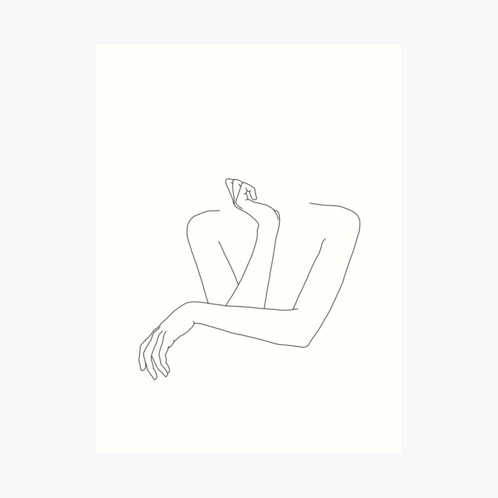Folded arms line drawing - Anna Art Print