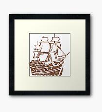 Grunge pirate ship Framed Print